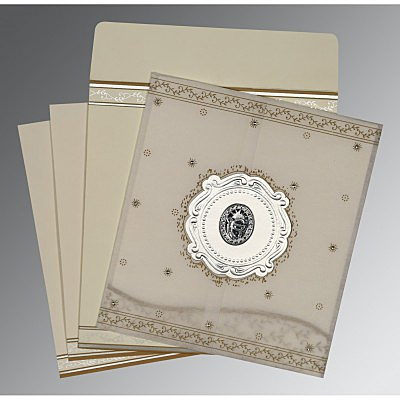 Ivory Wooly Embossed Wedding Invitation : RU-8202O - 123WeddingCards
