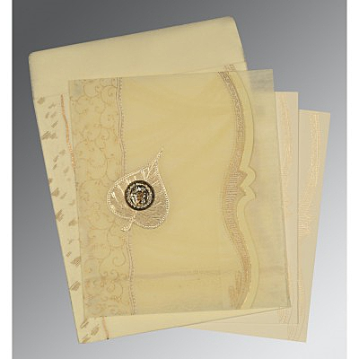 Ivory Wooly Embossed Wedding Card : RU-8210C - 123WeddingCards