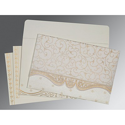 Ivory Wooly Embossed Wedding Invitation : RU-8221G - 123WeddingCards