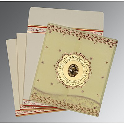 Ivory Wooly Embossed Wedding Invitations : S-8202E - 123WeddingCards