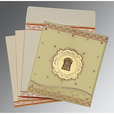 Ivory Wooly Embossed Wedding Invitations : SO-8202E - 123WeddingCards