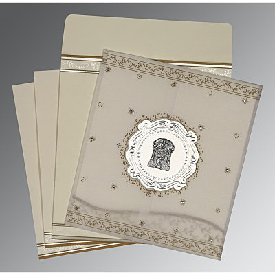 Ivory Wooly Embossed Wedding Invitations : SO-8202O - 123WeddingCards