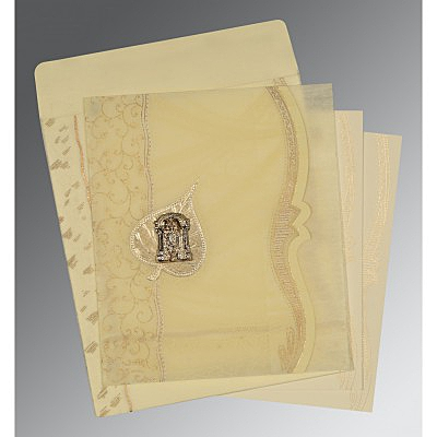 Ivory Wooly Embossed Wedding Card : SO-8210C - 123WeddingCards