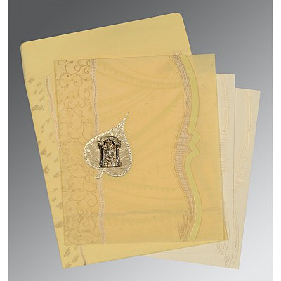 Ivory Wooly Embossed Wedding Card : SO-8210G - 123WeddingCards