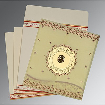 Ivory Wooly Embossed Wedding Invitation : W-8202E - 123WeddingCards