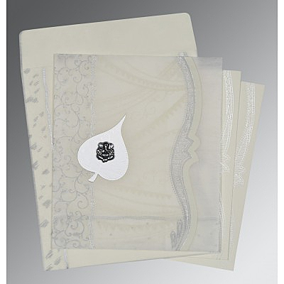 Ivory Wooly Embossed Wedding Card : W-8210J - 123WeddingCards