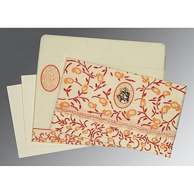Ivory Wooly Floral Themed - Glitter Wedding Card : C-8206C - 123WeddingCards
