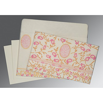 Ivory Wooly Floral Themed - Glitter Wedding Card : D-8206F - 123WeddingCards