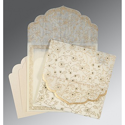 Ivory Wooly Floral Themed - Screen Printed Wedding Invitation : I-8211G - 123WeddingCards