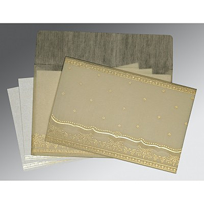 Ivory Wooly Foil Stamped Wedding Invitations : D-8241B - 123WeddingCards