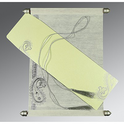 Ivory Wooly Foil Stamped Wedding Card : SC-5015G - 123WeddingCards