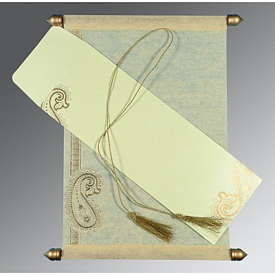 Ivory Wooly Foil Stamped Wedding Card : SC-5015N - 123WeddingCards