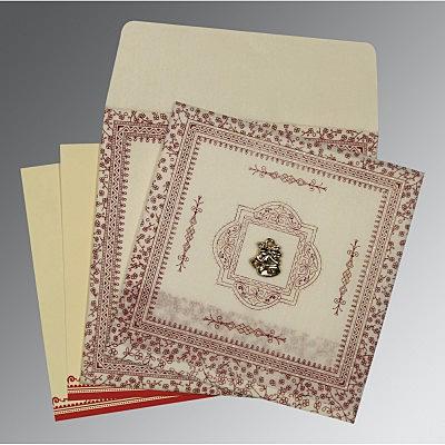 Ivory Wooly Glitter Wedding Invitations : C-8205E - 123WeddingCards