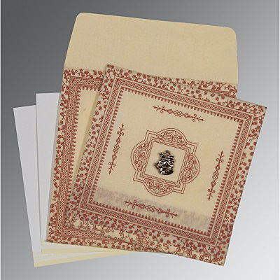 Ivory Wooly Glitter Wedding Invitations : C-8205O - 123WeddingCards