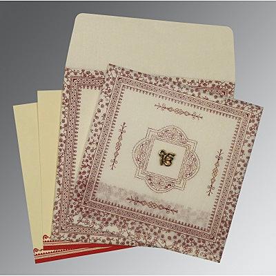 Ivory Wooly Glitter Wedding Card : S-8205E - 123WeddingCards