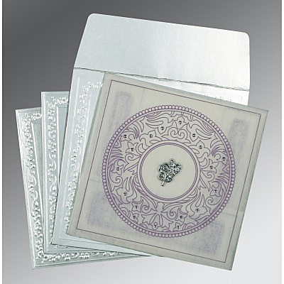 Ivory Wooly Screen Printed Wedding Card : C-8214J - 123WeddingCards