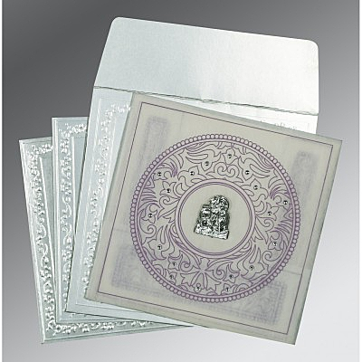 Ivory Wooly Screen Printed Wedding Card : G-8214J - 123WeddingCards