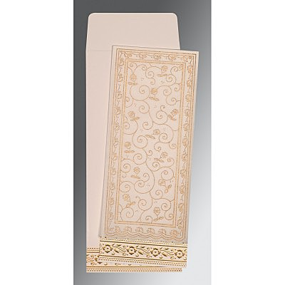 Ivory Wooly Screen Printed Wedding Invitations : IN-8220D - 123WeddingCards