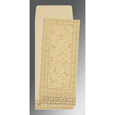 Ivory Wooly Screen Printed Wedding Invitations : IN-8220I - 123WeddingCards