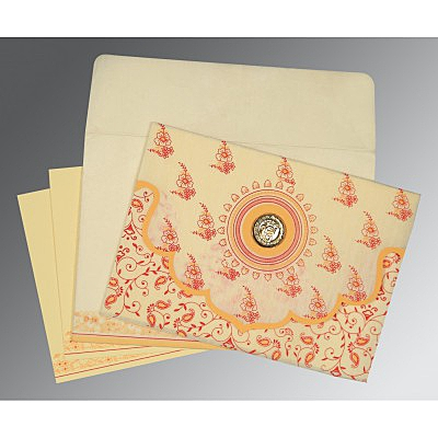 Ivory Wooly Screen Printed Wedding Invitation : S-8207A - 123WeddingCards
