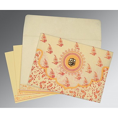 Ivory Wooly Screen Printed Wedding Invitations : W-8207A - 123WeddingCards