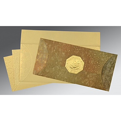 GOLD WOOLY EMBOSSED WEDDING INVITATION : IN-1391 - 123WeddingCards