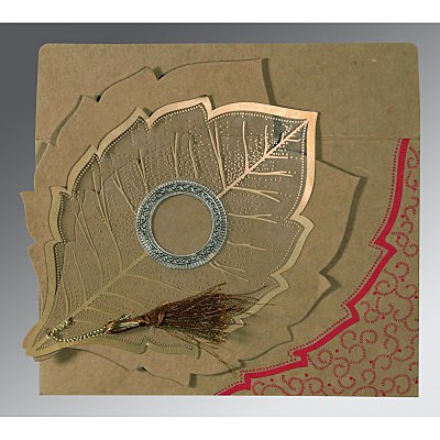 Khaki Handmade Cotton Floral Themed - Foil Stamped Wedding Card : C-8219Q - 123WeddingCards