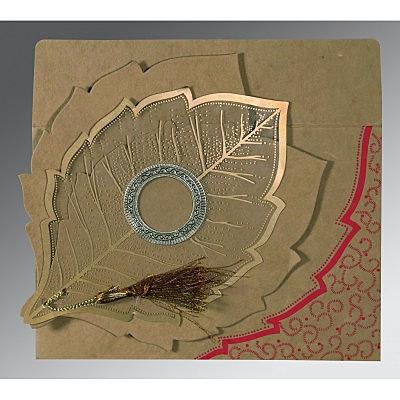 Khaki Handmade Cotton Floral Themed - Foil Stamped Wedding Invitations : G-8219Q - 123WeddingCards