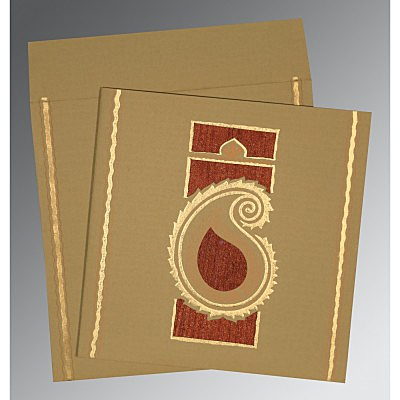 Khaki Matte Embossed Wedding Invitation : D-1187 - 123WeddingCards