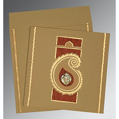 Khaki Matte Embossed Wedding Invitations : S-1187 - 123WeddingCards