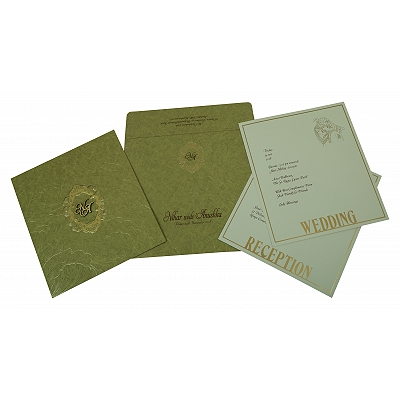 Khaki Matte Foil Stamped Wedding Invitation : D-1814 - 123WeddingCards