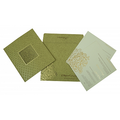 Khaki Matte Foil Stamped Wedding Invitation : I-1810 - 123WeddingCards