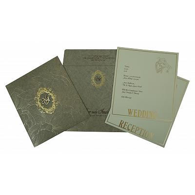 Khaki Matte Foil Stamped Wedding Invitation : W-1804 - 123WeddingCards