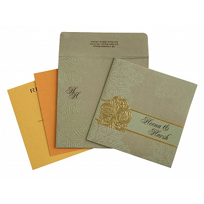 Khaki Matte Paisley Themed - Embossed Wedding Invitation : D-1730 - 123WeddingCards