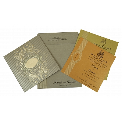 Khaki Shimmery Box Themed - Foil Stamped Wedding Invitation : I-1782 - 123WeddingCards