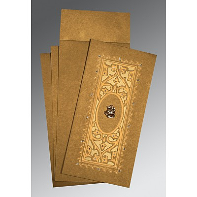 Khaki Shimmery Embossed Wedding Card : C-1440 - 123WeddingCards