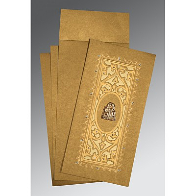 Khaki Shimmery Embossed Wedding Card : G-1440 - 123WeddingCards