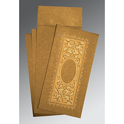 Khaki Shimmery Embossed Wedding Card : I-1440 - 123WeddingCards