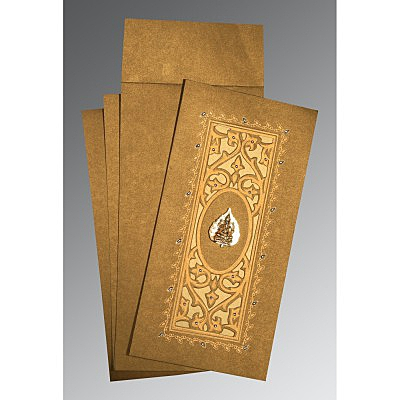 Khaki Shimmery Embossed Wedding Card : IN-1440 - 123WeddingCards