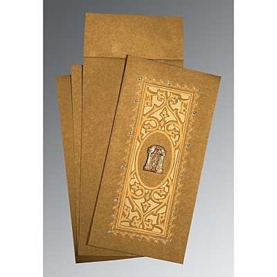 Khaki Shimmery Embossed Wedding Invitations : SO-1440 - 123WeddingCards