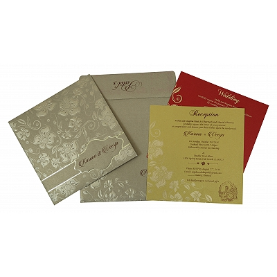 Khaki Shimmery Floral Themed - Foil Stamped Wedding Invitation : D-1785 - 123WeddingCards