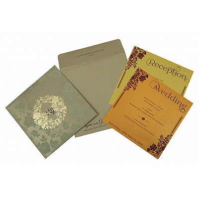 Khaki Shimmery Foil Stamped Wedding Invitation : C-1817 - 123WeddingCards