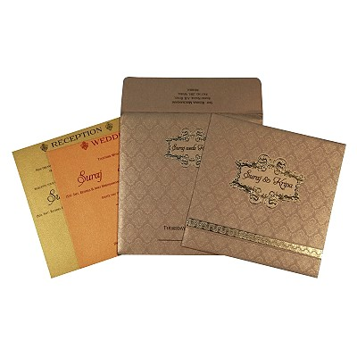 Khaki Shimmery Foil Stamped Wedding Invitations : D-1713 - 123WeddingCards