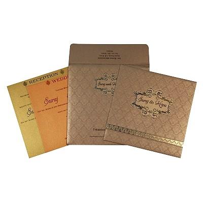Khaki Shimmery Foil Stamped Wedding Card : I-1713 - 123WeddingCards