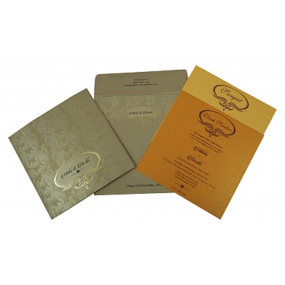Khaki Shimmery Foil Stamped Wedding Invitation : I-1816 - 123WeddingCards