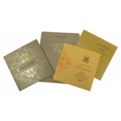 Khaki Shimmery Paisley Themed - Foil Stamped Wedding Invitation : W-1806 - 123WeddingCards