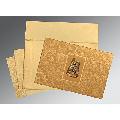 Khaki Shimmery Pocket Themed - Embossed Wedding Invitation : I-1434 - 123WeddingCards