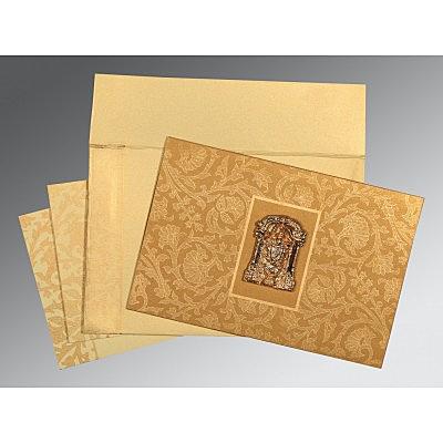 Khaki Shimmery Pocket Themed - Embossed Wedding Invitation : SO-1434 - 123WeddingCards