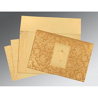 Khaki Shimmery Pocket Themed - Embossed Wedding Invitation : W-1434 - 123WeddingCards