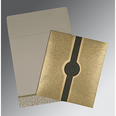 Khaki Shimmery Screen Printed Wedding Invitations : I-1377 - 123WeddingCards